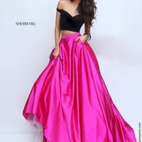 Sherri Hill 50194 Off the Shoulder Crop Top Prom Dress