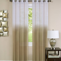 "Quintessence Ombre Sheer Window Curtain Panel (52"" x 84"") - Tan"