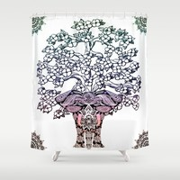Indian Elephant Tree Of Life Shower Curtain by Inspired Images
