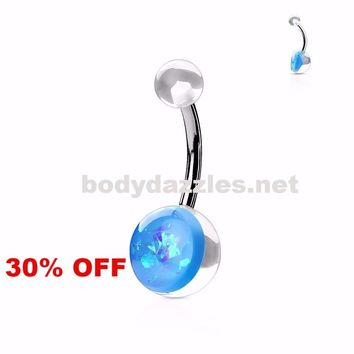 Light Blue Opal Glitter Set On Clear Acrylic Ball Surgical Steel Belly Button Navel Rings 14ga Black Friday Cyber Monday