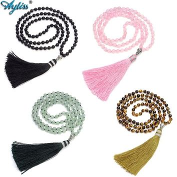 Ayliss 108 Buddhist Prayer Beads Tibetan Mala Multilayer 6MM Healing Energy Meditation Gem Stone Wrap Bracelet Necklace W/Tassel