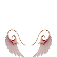 M'O Exclusive: Wing Earrings With Rose Agate, Pink Sapphires And Rose Gold by Noor Fares - Moda Operandi