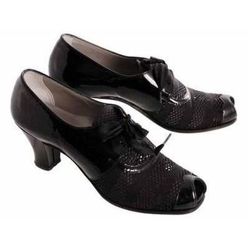 Vintage Womens Shoes Oxfords 1930s Black Patent/Mesh/Peeptoe Sz 7 Orig Box