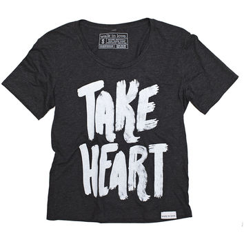 Take Heart Charcoal Wide Neck T-Shirt