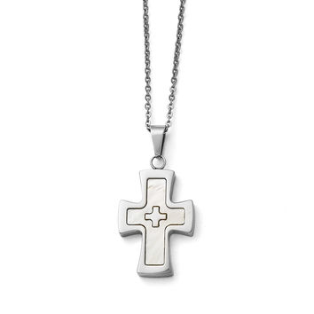Stainless Steel Polished Mother Of Pearl Cross Necklace SRN1476