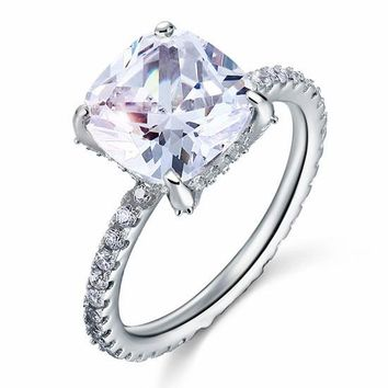 5 Carat Cushion Cut Simulated Diamond 925 Sterling Silver Wedding Engagement Promise Ring Jewelry