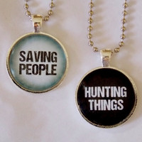 The Family Business Necklace Set. Saving People, Hunting Things Fandom Jewelry Set. 18 Inch Ball Chains.