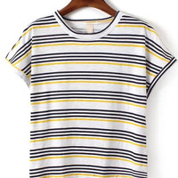 Yellow Striped Short Sleeve T-shirt
