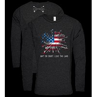Southern Couture Lightheart USA Love this Land Triblend Front Print Long Sleeve T-Shirt