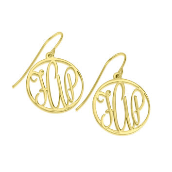 Gold monogram earrings 0.80 inch gold plated monogram