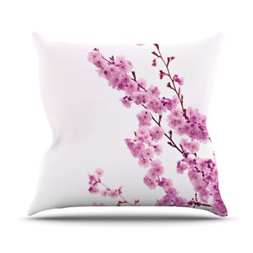"Monika Strigel ""Cherry Sakura"" Pink Floral Throw Pillow"