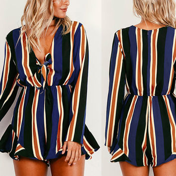 New Women Jumpsuit Sexy V-Neck Romper Long Sleeve Bodysuit Striped Rompers Overalls Beach Wear