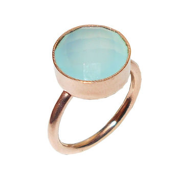 Aqua Chalcedony Ring, Gold Filled Ring, Rose Gold Ring, Round Stone Ring, Aqua Gemstone Ring, Bridesmaids Ring, Solid Brass Ring, Gift ideas