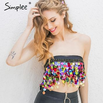 Simplee Black beading summer beach short top tees Backless sash punk crop top women Sexy chain sequin tassel chiffon tube top