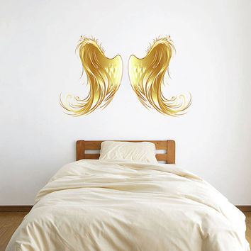 kcik508 Full Color Wall decal golden angel wings children's bedroom living room
