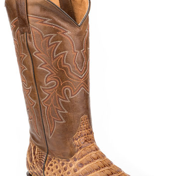Roper Mens Faux Exotic On Leather R Toe Boots Caiman Belly