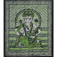Black Hindu God Ganesha Cotton Batik Tapestry Wall Hanging Art