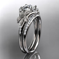 14kt  white gold diamond leaf and vine wedding ring,engagement ring ADLR91S nature inspired jewelry