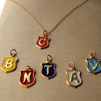 Personalized Initial Necklace, Vintage Shield Charm with Letter of your Choice, enameled shield charm