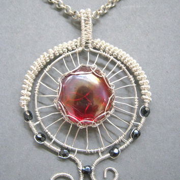 Red glass wire wrapped pendant