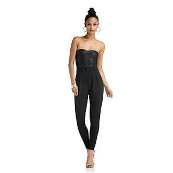 Nicki Minaj Jumpsuit w/ Textured Faux-Leather Bodice