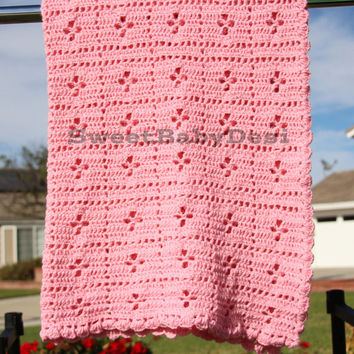 Pink Crochet Baby Blanket, Lacey Stroller Afghan, It's A Girl, Baby Shower Present, Flower Pattern, Extra Large Toddler Blankie, Lapghan