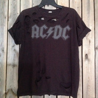 ACDC grunge heavy metal cut unisex t shirt large