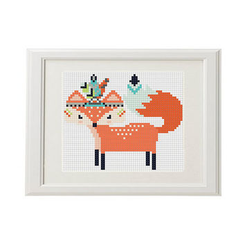 Modern cross stitch pattern fox arrow feathers pens Boho Trim Geometric Cross Stitch Pattern modern Baby Cross Stitch funny woodland animal