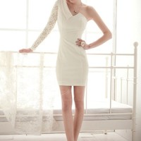 White One Shoulder Single Lace Sleeve