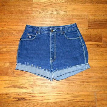 Vintage Denim Cut Offs - 80s High Waisted Dark Wash Jean Shorts w White Contrast Stitching - Frayed/Rolled Up Bon Jour Shorts Size 10/12