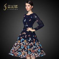 Autumn Dress  Butterfly Printed Chiffon Long-Sleeved Round Collar Knee-Length Dress Temperament Cultivate One's Morality Dress