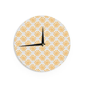 "Apple Kaur Designs ""Sunburst"" Orange Gray Wall Clock"