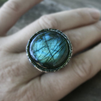 labradorite ring, statement ring, gemstone ring, romantic ring, nostalgic ring, flashy ring romantic ring organic ring, tiffany method, OOAK