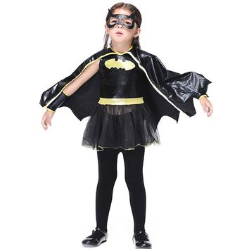 Halloween Children Girl Batman Dress Sets Kids Xmas Party Clothes Dress+Cape+Mask+Wrist 4pcs/sets Girl Cosplay Costume