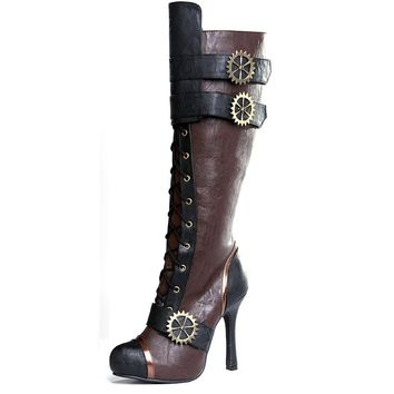 Ellie Shoes E-420-Quinley 4 Knee High Steampunk Boot With Laces