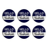 Yadiel Hello My Name Is Plastic Resin Button Set of 6