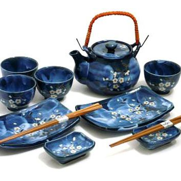 11 Piece Sushi and Tea Set - Indigo Dream