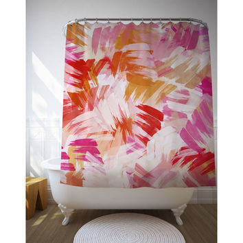 Pink Abstract Paint Shower Curtain, Graphic Art, Bath Decor, Bathroom Accessories, Shower Gift