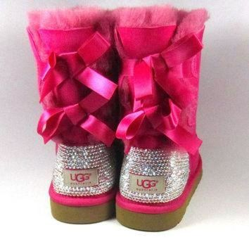 CHEN1ER UGG Bailey Bow Hot Pink Sheepskin Boots with Swarovski Crystal Embellishment - Winter/