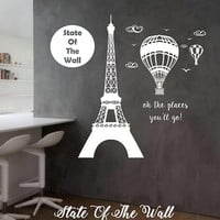 Paris Eiffel Tower Wall Decal Sticker Art Decor Bedroom Design Mural interior design family home decor art Travel Oh the places youll go