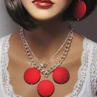 Red Crimson Necklace Game Day Jewelry Polka Dot Retro