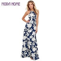 Women Maxi Boho Dress Halter Neck Floral Print Sleeveless Summer Dress Holiday Long Beach Dress Vestidos Party Dresses
