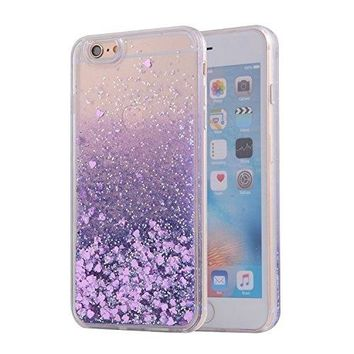 iPhone 6S Case, SAUS iPhone 6 Case, Funny Liquid Infused with Floating Bling Glitter Sparkle Dynamic Flowing Hybrid Bumper Case