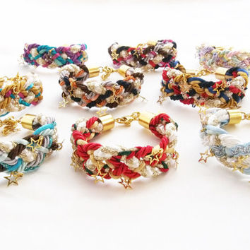 Red blue white braid bracelet , gold tiny star pendants, rope bracelet