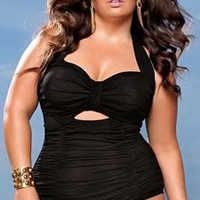 Plus Size Black Halter Sweetheart Cut-out Ruched Swimwear