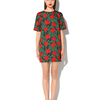 "FAILLE T-SHIRT DRESS WITH ""POP ROSES"" PRINT"