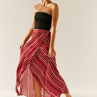 UO Isabella Striped Maxi Wrap Skirt | Urban Outfitters
