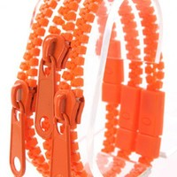 Orange Zipper Decor Bracelet Trio