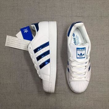 "Adidas Superstar ""White/Blue"" Laser Sequined Leather"