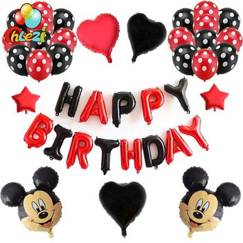 40pcs/lot Minnie Mickey mouse head foil balloons red black birthday letter party Decor 12inch Polka Dot Latex Ballon baby shower